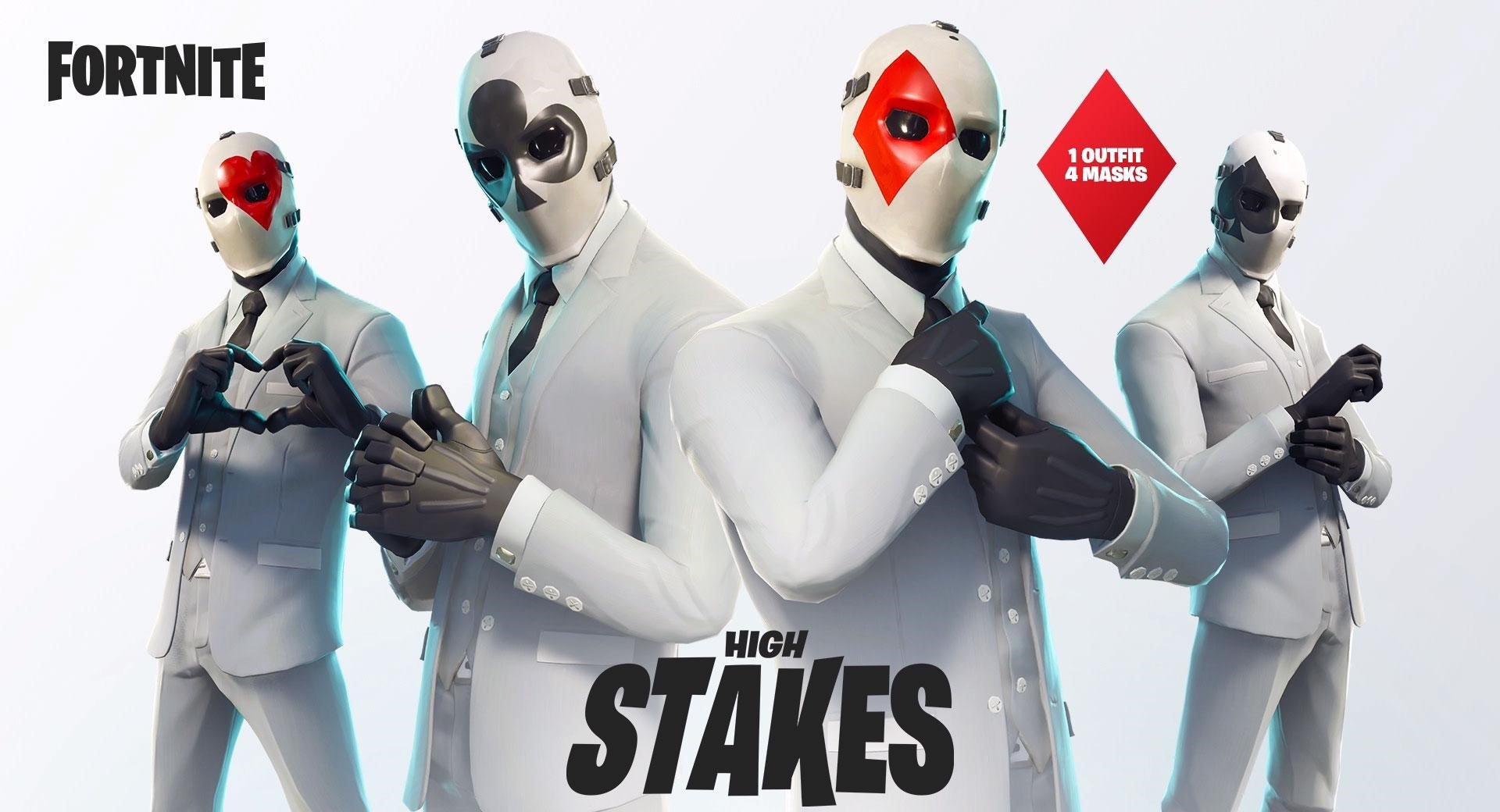 the wildcard skin as it s called is customizable you can swap out 4 different playing card themed masks to top off your white suit - photo de skin fortnite saison 5
