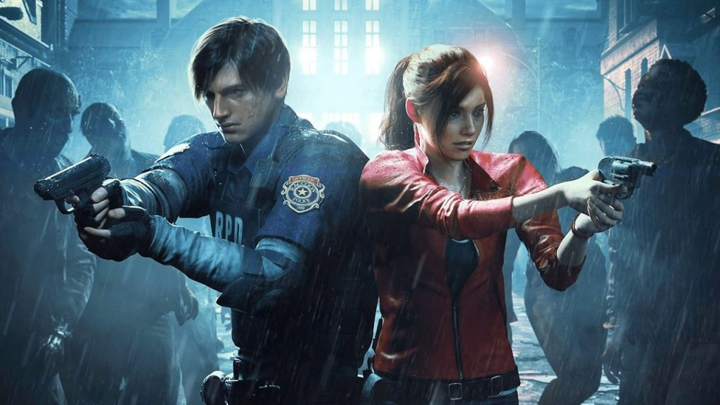 Claire and Leon in the Resident Evil 2 remake game