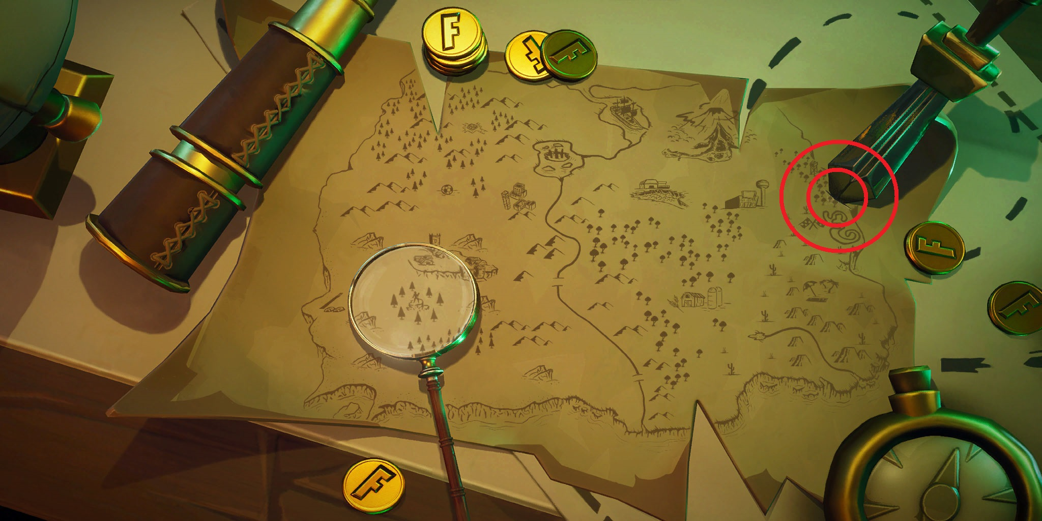 fortnite treasure map knife location challenge