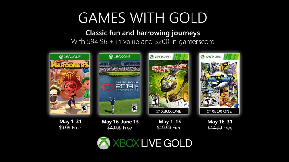 Xbox Live games with gold may 2019