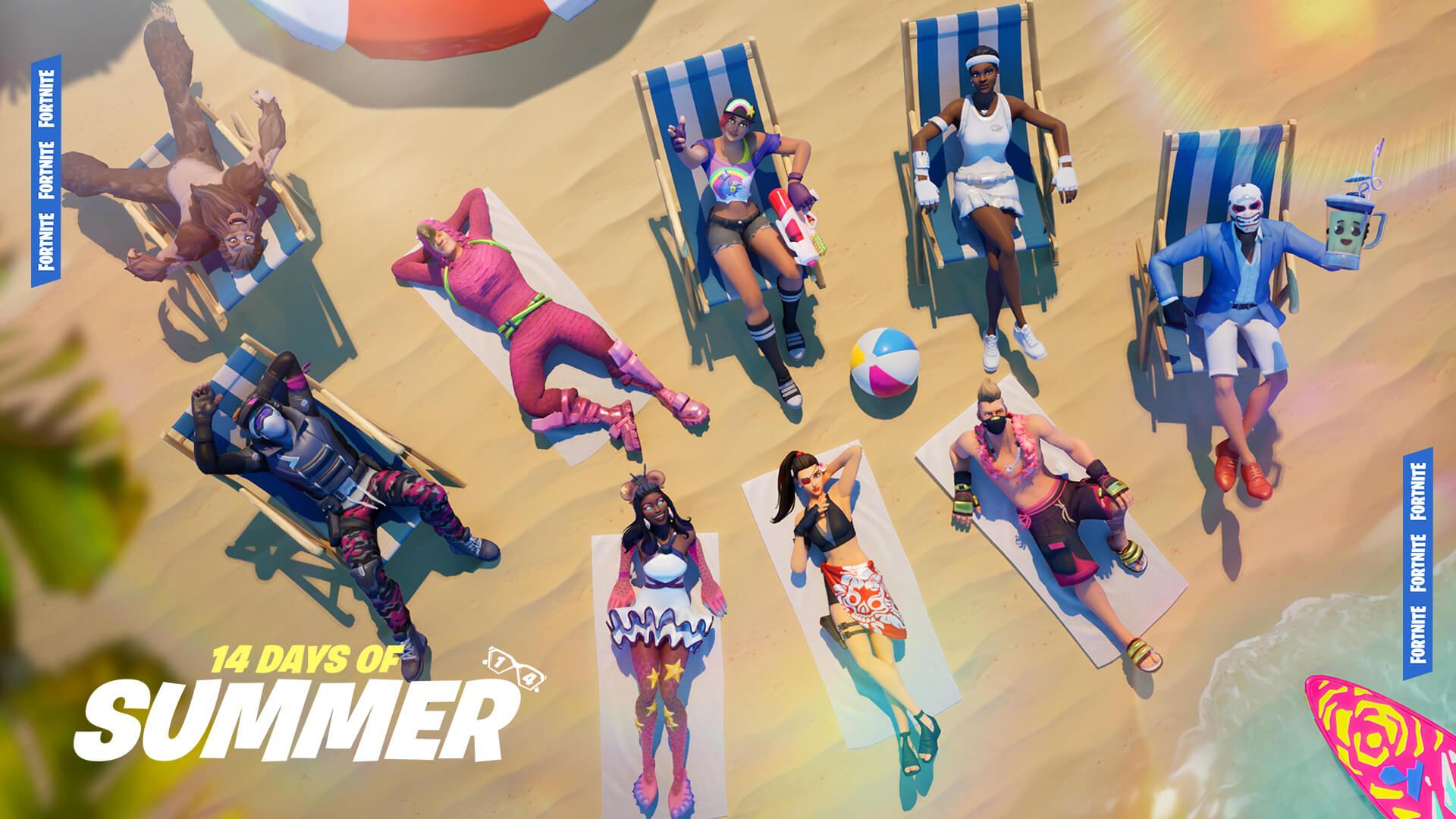 fortnite 14 days of summer event, challenges, LTM, skins