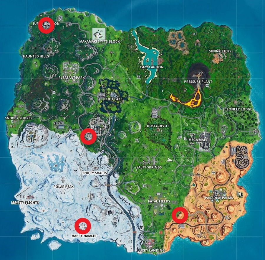 Fortnite season 9 week 8 clock locations map
