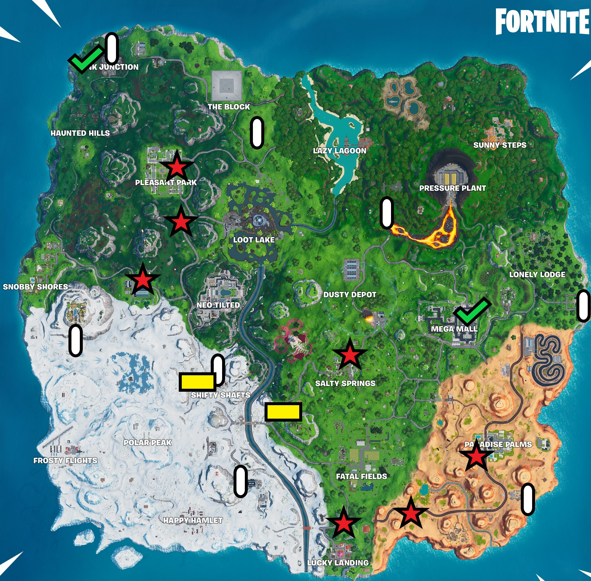season 10 week 2 missions cheat sheet, map, locations