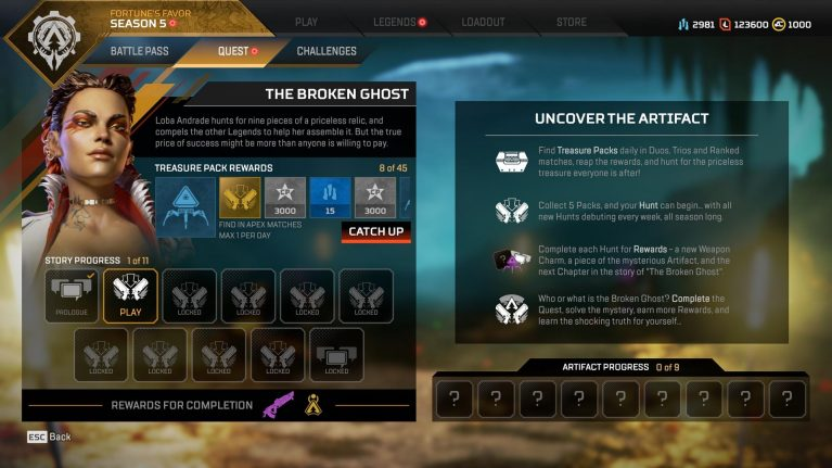 Apex Legends Season 5 menu